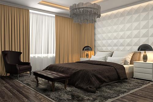 Tkanina zaciemniająca blackout beige186 zasłony w sypialni