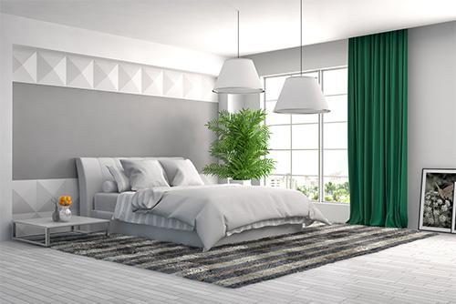 tkanina blackout green457 zasłony w sypialni